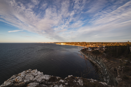 Standing high up on the cliffs looking over the island of Gotland