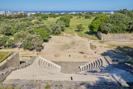 view of arena location from Roman times with sea background Stok Fotoğraf