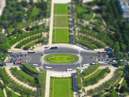 champ: Champ de Mars from Eiffel Tower - Miniature Effect Stock Photo