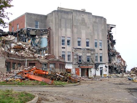 Large, Destroyed Building Awaits to be Demolished