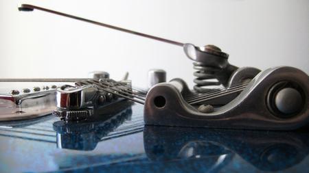 Electric Guitar Bridge, Strings, and Pickup Closeup