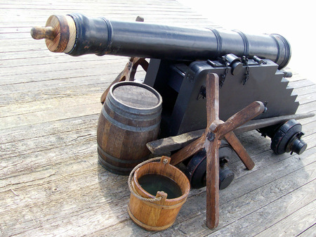 Old Iron Cannon at Fort Stok Fotoğraf - 54975793