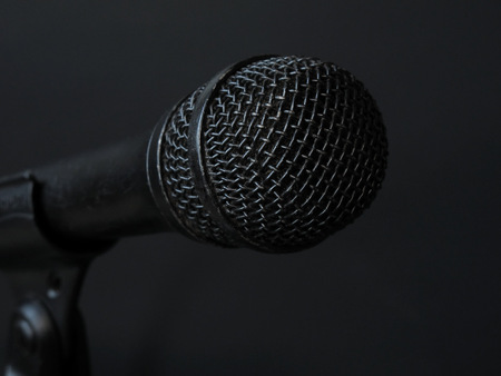 Worn, Black Microphone Up Close Stock Photo