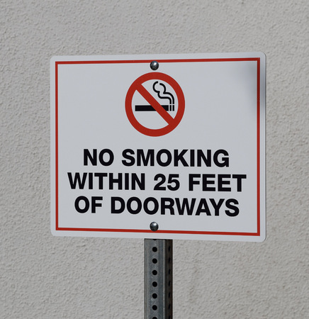 doorways: No Smoking Near Doorways Sign