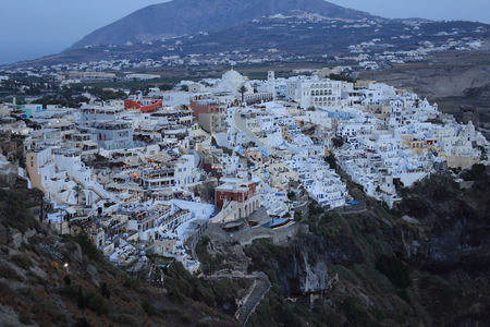 Early Evening the Town of Fira, Santorini, Greece
