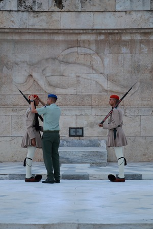 Evzone Guarding the Tomb of the Unknown Soldier, Athens, Greece Editorial