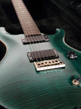 Green Electric Guitar Up Close