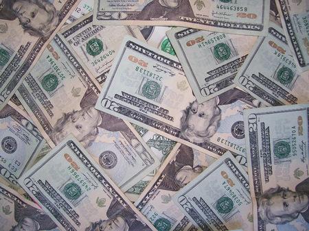 Scattered US Twenty Dollar Bills