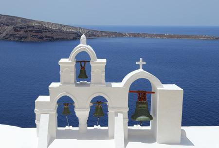 Whitewashed Church Bells of Santorini, Greece