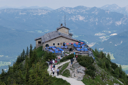 Berchtesgaden, Germany - June 20, 2017: view of Hitler`s Kehlsteinhaus aka Eagle`s Nest lodgeretreat in southeast Germany