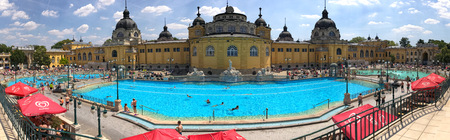 Budapest, Hungary - June 15, 2017: wide view of the Szechenyi Thermal Baths complex exterior
