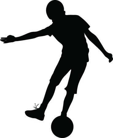 Vector silhouette boy who kick the ball