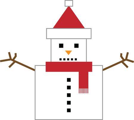 Square snowman color vector illustration on white background