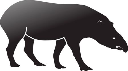 Tapir Silhouette Vector isolated on White Background