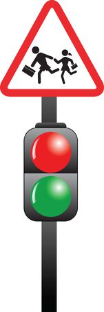 School children sign and traffic light color vector Vectores