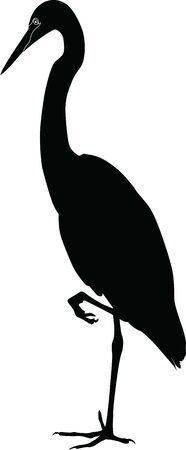 wild heron stands silhouette vector on a white background Фото со стока - 129522673