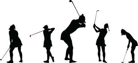 Vector silhouette of a woman golf player collection Vectores
