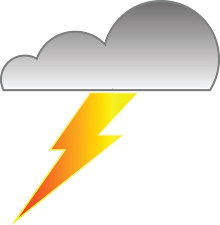Cloud with rain and lightning bolt vector illustration Vectores