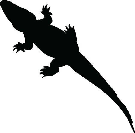 Vector illustration of alligator silhouette isolated on white Иллюстрация