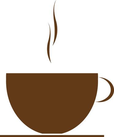 Coffee cup icon button brown sign vector illustration Vectores