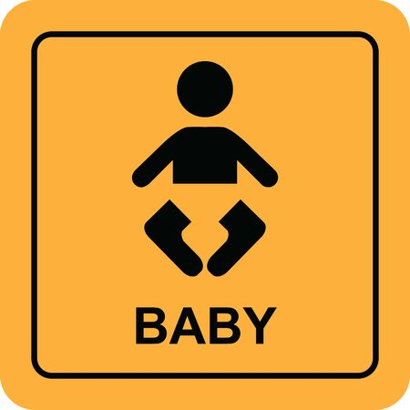 Baby icon button yellow sign vector illustration