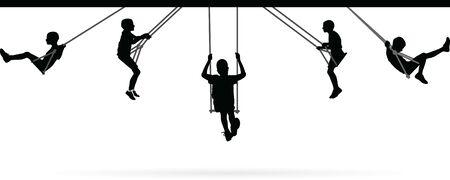 Boy swinging on swing collection vector illustration