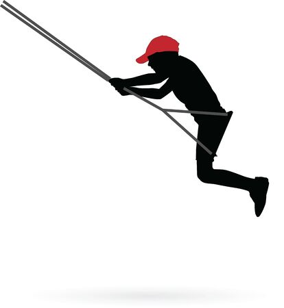 Boy swinging on a swing vector silhouette illustration