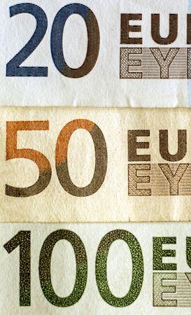 Part of Euro banknotes close up macro