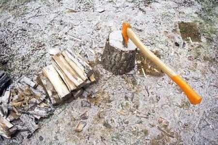 ax stuck in the stump winter season