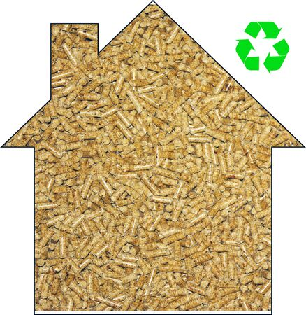 The shape of the house fill with wood pellet and recycle sign Stockfoto