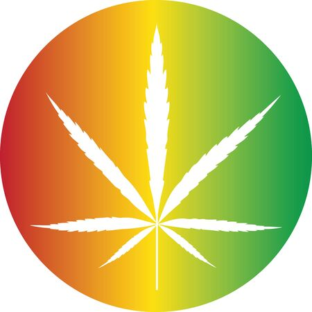 Cannabis reggae color icon button vector illustration Vectores