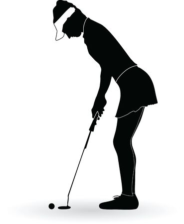 Vector silhouette of a woman golf player