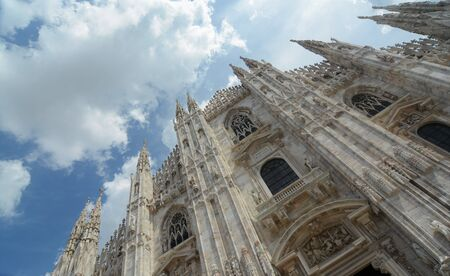 Duomo di Milano Cathedral at the cloudy sky