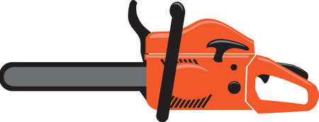 Gasoline chainsaw isolated color vector illustration — Vectores