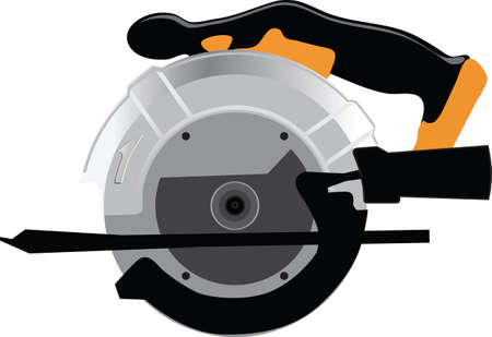 Electric circular saw repair tool vector illustration isolated