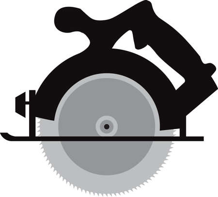 Electric circular saw repair tool isolated vector illustration