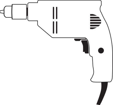 Electric drill repair tool vector illustration isolated Vectores