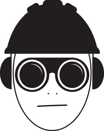 Job safety icon illustration vector, worker wearing glasses, helmet and ear protection