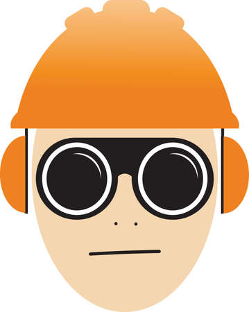 Job safety icon illustration vector, worker wearing glasses, helmet and ear protection Ilustración de vector