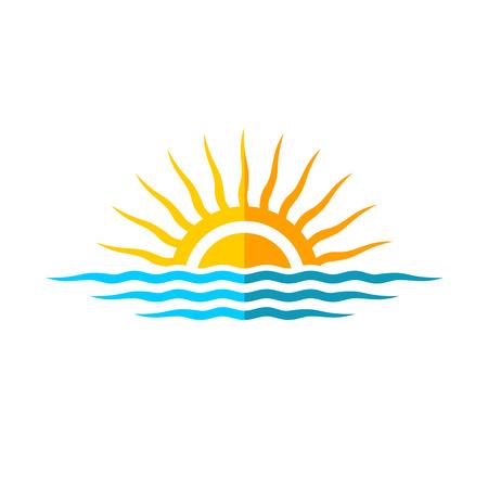 sol: Logotipo modelo Viagem. Sun com ondas do mar.