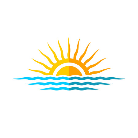 tropical sunset: Travel logo template. Sun with sea waves.