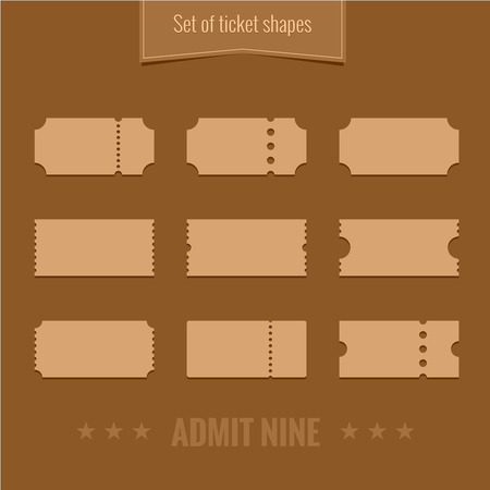 old movie: Set of vector ticket shape silhouettes template