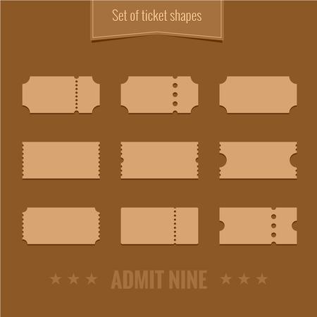 Set von Vektor-Silhouetten Ticket Form template Standard-Bild - 39327616