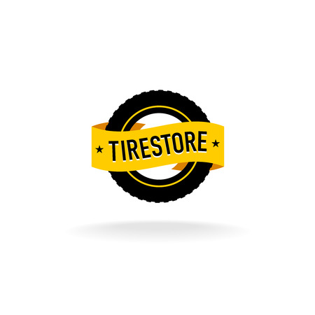Tires store logo. Black tire silhouette with orange ribbon with text. Illustration