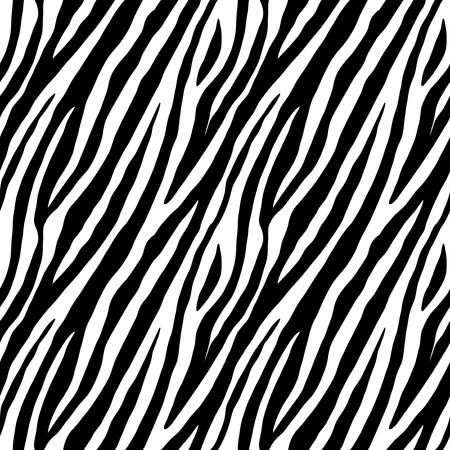 Zebra skin repeated seamless pattern. Black and white colors. 2x2 sample. Illustration