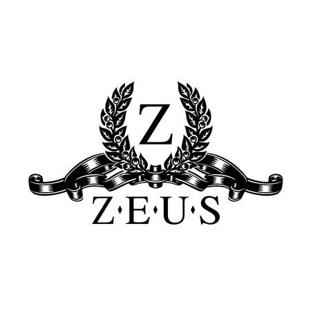 couronne royale: Cadre décoratif de laurier et le ruban pour la lettre de conception de logo Illustration