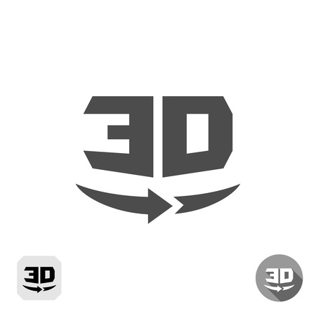 view icon: 3D rotation panorama sign. 360 degree view icon.