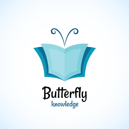 book logo: Open book logo witn butterfly horns at the top.
