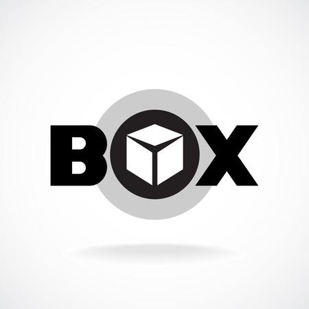 cajas de carton: Palabra Box firmar sencilla imagen de una caja con. Vectores