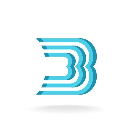 letter b: B letter logo template. Parallel lines style. Illustration